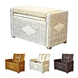 Bruno Handmade 26 Inch Rattan Wicker Chest Storage Trunk Organizer Ottoman W/cushion White Wash