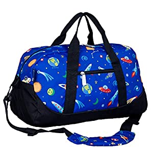 Wildkin Overnighter Duffel Bag, Features Moisture-Resistant Lining and Padded Shoulder Strap, Perfect for Sleepovers, Sports Practice, and Travel, Olive Kids Designs – Out of This World
