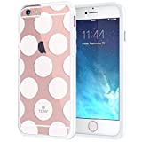 """iPhone 6 6s Case 4.7"""", True Color® Large Polka Dots Printed on Clear Transparent Hybrid Cover Hard + Soft Slim Thin Durable Protective Shockproof TPU Bumper Cover - White"""