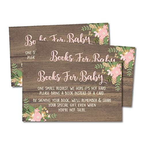 25 Oh Deer Books for Baby Request Insert Card for Girl Gold Baby Shower Invitations or invites, Buck Hunting Woodland Cute Bring A Book Instead of A Card Theme for Gender Party Story Games]()
