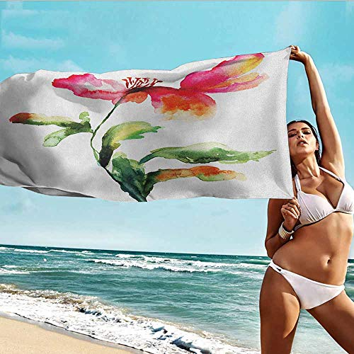 - TT.HOME Travel Bath Towel,Watercolor Flower Shaded Single Poppy Flowering Plant Muse Nature Earth Divine Grace,for Family Guest Bathrooms Gym,W40x10L, Red Green White