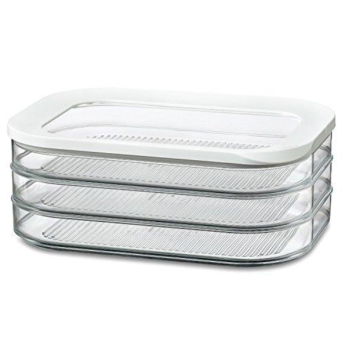 Rosti Mepal Modula 1.6L 3 Tier Meat Cuts Storage Box Airtight Lid Dishwasher Safe (Pack of 6)