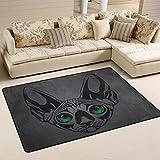 savsv ligero Impreso Alfombra de área alfombra decorativa contemporáneo Sphynx gato repelente al agua resistente a la decoloración para salón o recámara 3'x 2', Multicolor, 6'x 4'(72'x48'), 1
