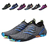 Leaproo Men Women Water Shoes Aqua Socks Barefoot Swim Yoga Surf Shoes for Beach Pool Diving Walking grey-43