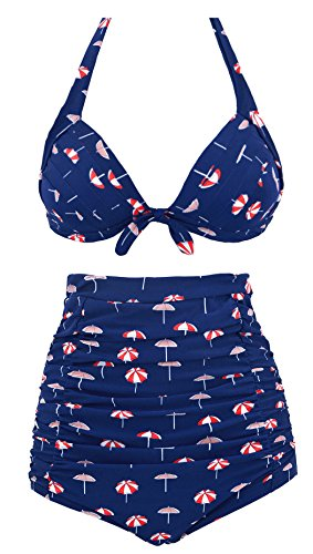 Ebuddy Women's Retro 50s Halter High Waist Bikini Carnival Swimsuit Swimwear,Umbrella Print-M