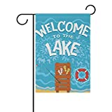 Cheap Cooper girl Summer Beach Lake Lifebuoy Garden Flag Yard Banner Polyester for Home Flower Pot Outdoor Decor 28X40 Inch