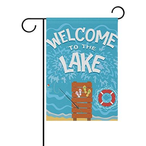 Cheap Cooper girl Summer Beach Lake Lifebuoy Garden Flag Yard Banner Polyester for Home Flower Pot Outdoor Decor 28X40 Inch