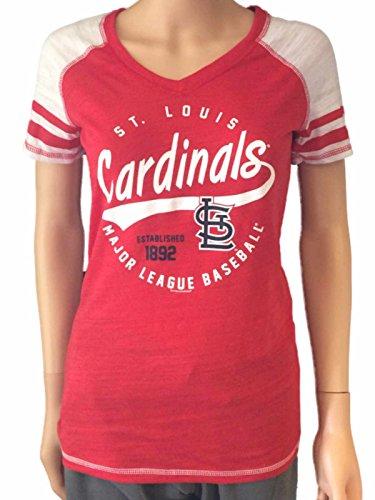 St. Louis Cardinals SAAG Women Red Light Baseball Tri-Blend V-Neck T-Shirt (S)