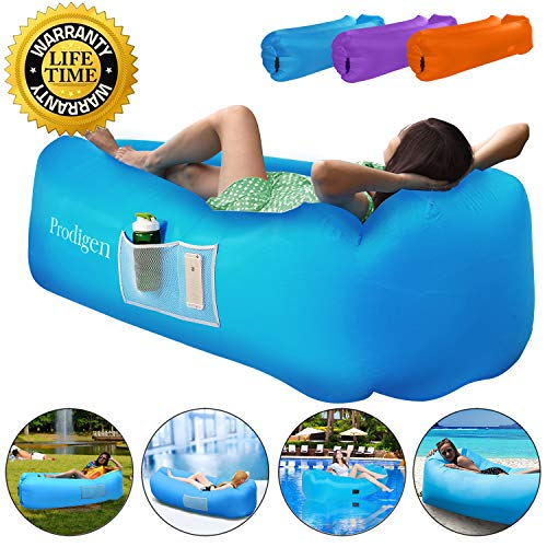 Prodigen Inflatable Lounger Chair, Air Sofa Inflatable Couch Outdoor Anti-Air Leaking Waterproof Portable Inflatable Hammock Air Couch for Pool, Floor, Camping, Beach (Blue)