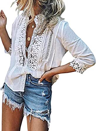 CANIKAT Women's Fashion Fall Long Sleeve Color Block Camo Print Tunics Sweatshirts Crew Neck Pullovers Tops for Ladies White Small