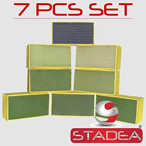 Diamond Hand Polishing Pads STADEA for Stone Concrete Granite Marble - Set of 7 Pcs (Work Glove Impregnated)