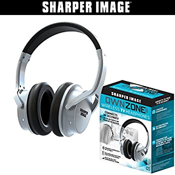 Sharper Image OWN ZONE Wireless Rechargeable TV Headphones- RF Connection, 2.4 GHz, Transmits Wirelessly up to 100ft, No Bluetooth Required, AUX, RCA, ...