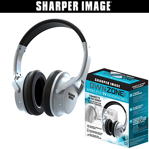 Sharper Image OWN ZONE Wireless Rechargeable TV Headphones- RF Connection, 2.4 GHz, Transmits Wirelessly up to 100ft, No Bluetooth Required, AUX, RCA, & Optical Cable Included (Silver)