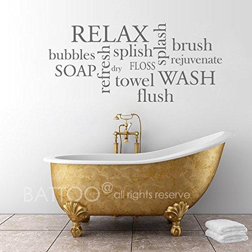 "BATTOO Bathroom Wall Decor Bathroom Wall Decal - Bathroom Rules- Wash, Brush, Floss, Flush - Bathroom Sign Bathroom Wall Art Stickers Vinyl Lettering(Dark Gray, 22"" WX10 H)"