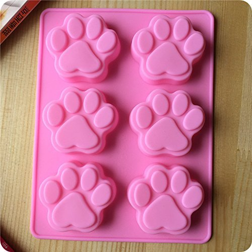 Silicone Bakeware Dog Footprint Shapes Cake Mold Cat Paw Feet Chocolate Cookie Fondant DIY Reusable BPA Free Cupcake Mould Baking Tray