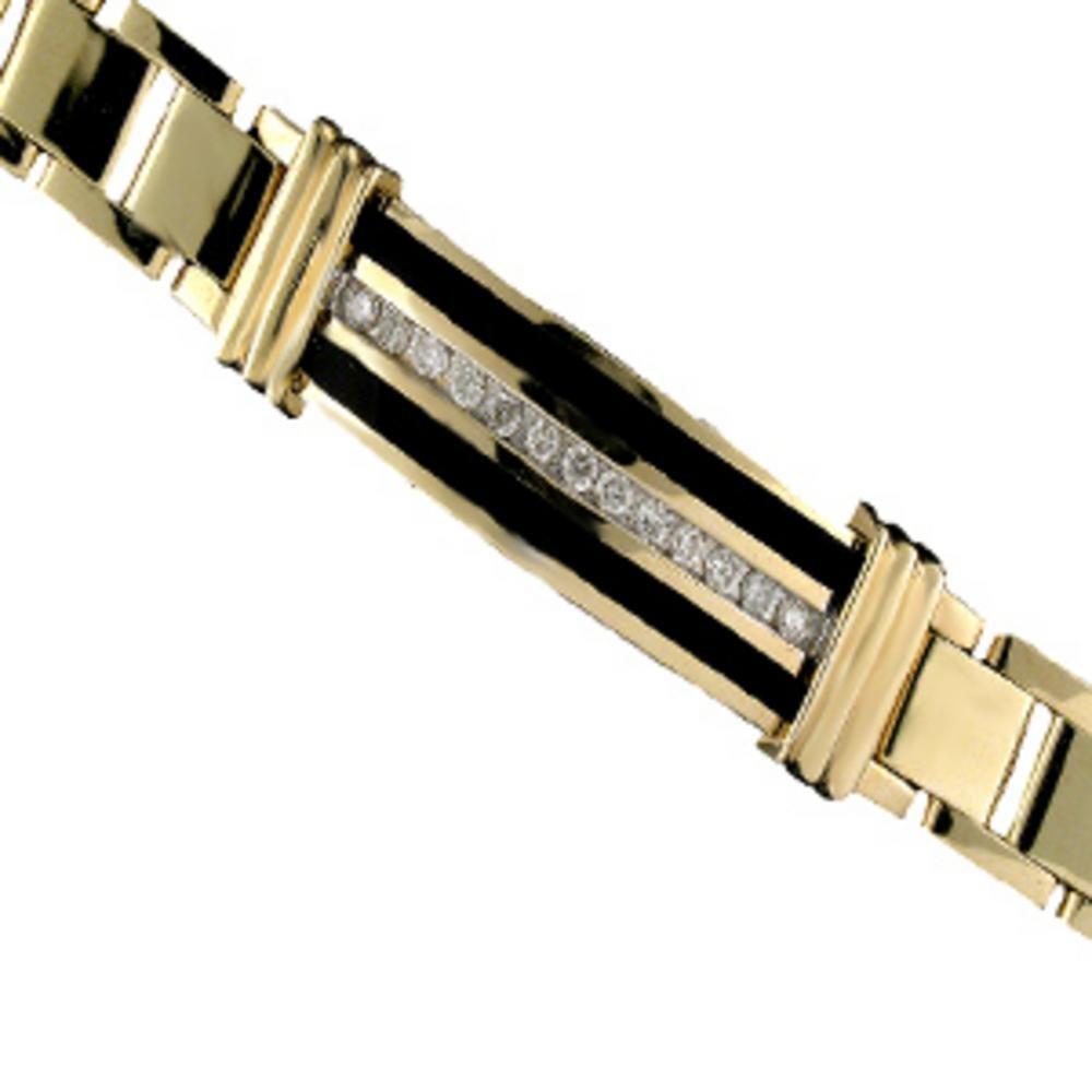Onyx & Diamond 14K Solid Yellow Gold Bracelet Role X Design