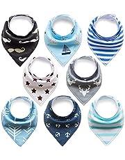 FUTURE FOUNDER 8er Baby Dreieckstuch Mädchen Jungen Lätzchen blau halstuch Saugfähig Weich Baumwolle Halstücher Spucktuch Mit Druckknöpfen Multifunctional Baby