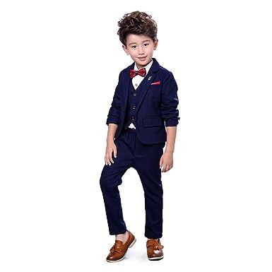 Zicac Jungen 4 Stücke Modern Fit Anzug Solide Kleid Anzug Jacke ...