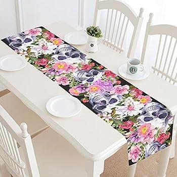 InterestPrint Sugar Skull Flowers Table Runner Home Decor 14 X 72 Inch,Halloween Human Skull Rose Table Cloth Runner for Wedding Party Banquet Decoration