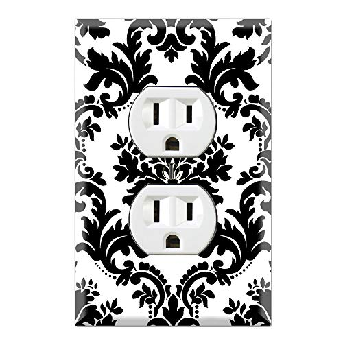 Graphics Wallplates - Black and White Damask - Duplex Outlet Wall Plate Cover]()
