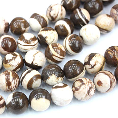 Icokarl Brown Zebra Jasper Round 16mm Natural Gemstone Loose Beads Approxi 15.5 inch DIY Bracelet Necklace for Jewelry Making