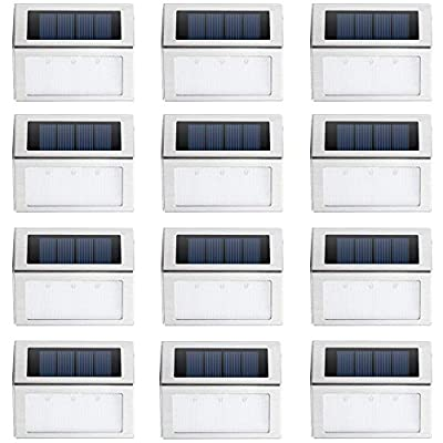 Solar Deck Lights, KASUN Super Bright LED Walkway Light Stainless Steel Waterproof Outdoor Security Lamps for Patio Stairs Garden Pathway (White Light - 12PCS)