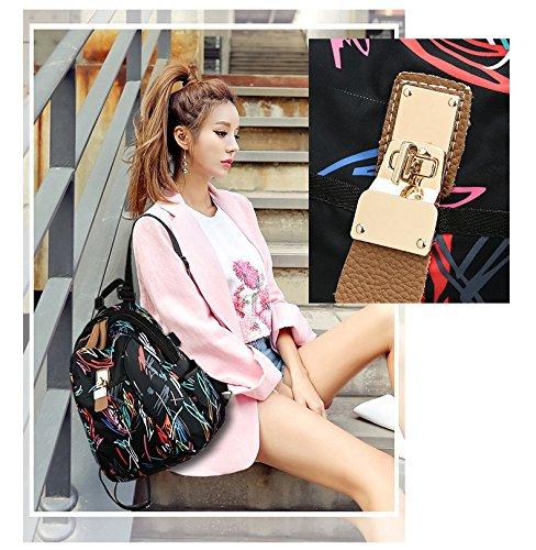 imprimé de E imperméable grande à sac main dos sac sac Femmes dos sac bandoulière en sac capacité à nylon voyage étudiant à collège à f8XSqwZ