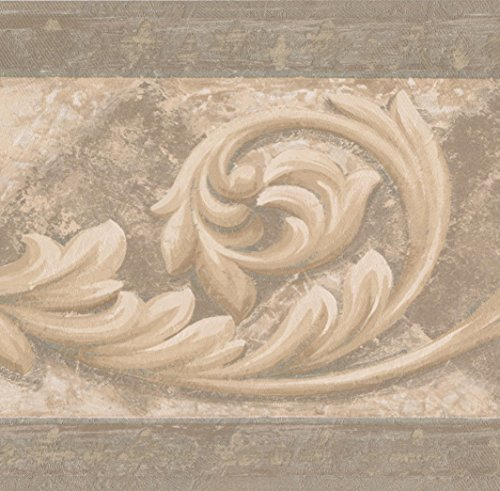 Beige Brown Vine Damask Victorian Wallpaper Border Vintage Design, Roll 15