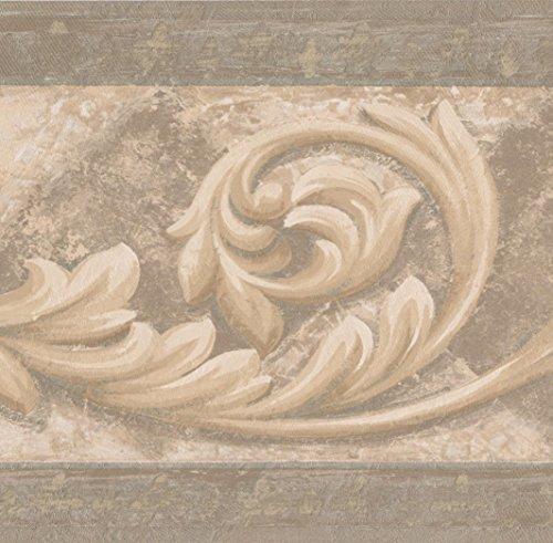 (Beige Brown Vine Damask Victorian Wallpaper Border Vintage Design, Roll 15' x 7'')