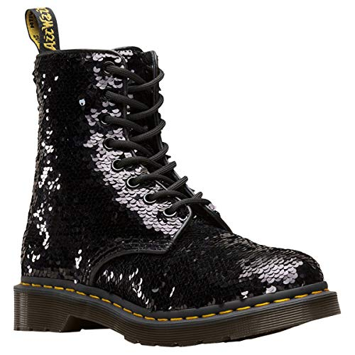 Dr. Martens Women's 1460 Pascal 8 Eye Boots, Black/Silver/Black, 7 Medium US