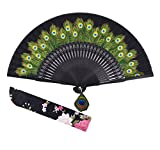 Amajiji 8.27'' Peacock Chinease/Japanese Hand Held Silk Folding Fan with Bamboo Frame,Hollow Carve Patterns Bamboo Frame Women Hand Folding Fans Hand Fan Gift fan Craft fan Folding Fan (Black)