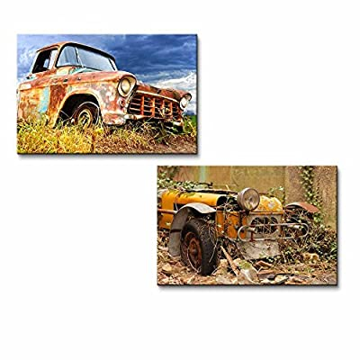 Picturesque Rural Landscape with Old Fashioned Car Home Deoration Wall Decor x 2 Panels
