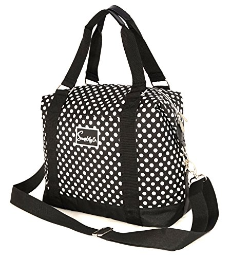 Travel Weekender Overnight Carry-on Under the Seat Shoulder Tote Bag (Small, Black & White Polka Dot) (Polka Luggage Rolling Dot White)