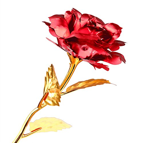 Lemonbest 24K Gold Plated Rose Flower Creative Thanksgiving Mother's Day Valentine's Day Gift (Red)