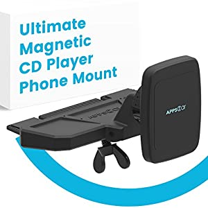 APPS2CAR Ultimate Magnetic CD Player Phone Holder For Car. Car Phone Mount Universally Compatible w/ Android + iPhone X, 8, 8 Plus + All In-Car CD Players with Magnetic Phone Car Mount Magnets.