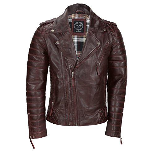 XPOSED Mens Maroon Tan Brown Vintage Genuine Lambskin Real Leather Biker Jacket Front 2 Zips Style [922,Burgundy,6XL]