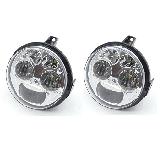 Pair Chrome 12v 4.5 inches High Low Beam LED Headlight Compatible with Kawasaki Teryx Teryx4 BRUTE FORCE 750 (Brute Force Accessories)