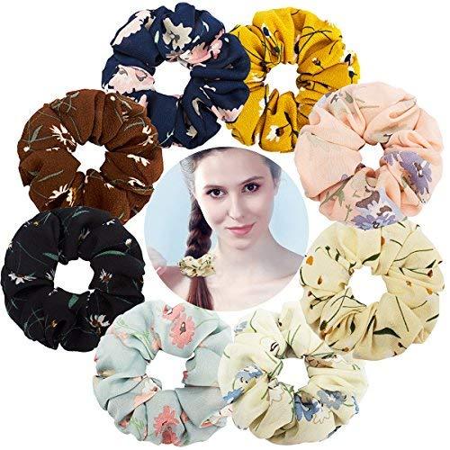 Velscrun Chiffon Floral Hair Scrunchies for Women Girls, 8 Pack Large Flower Hair Bands Elastics Ponytail Holder Soft Bobble Hair Colorful Scrunchy Hair Bands Ties