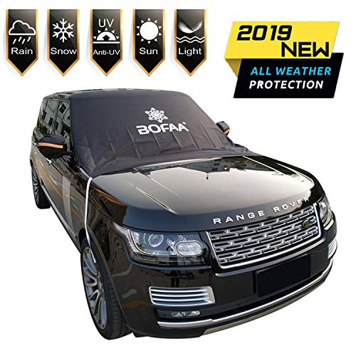 Windshield Snow Cover (Non-Scratch), BOFAA Windshield Cover with Mirror Covers for Winter, Blocking Snow, Sun, Fallen Leaves, Bird droppings. Fits Most Vehicle, Easy to Install (XL-96 x 57 inches)