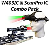 Wicked Lights W403IC & ScanPro IC Predator Pursuit Night Hunting Light and Headlamp Combo Pack With Green, Red, and White Intensity Control LED's for Predator, varmint & Hog