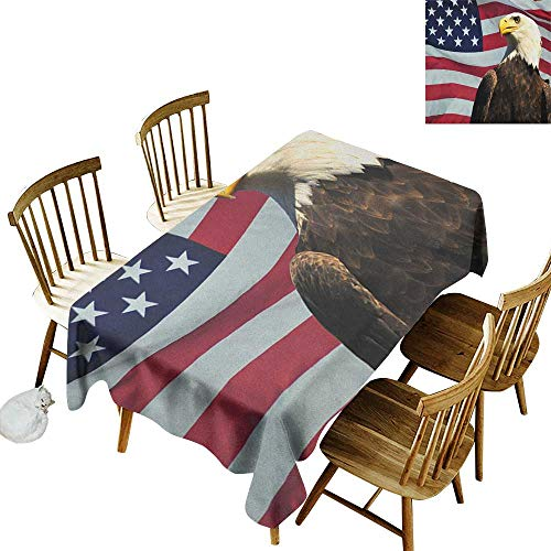 Cranekey Living Room Rectangular Tablecloth W50 x L80 Eagle United States of America Flag with Symbol of The Country Looking into The Horizon Multicolor Great for Bar More