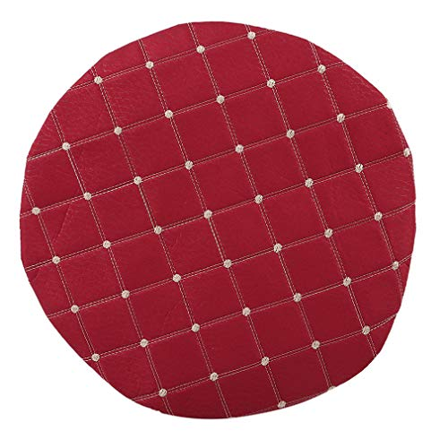 Cushions Padded Bar Stool Cover Cushion Anti-Slip Soft Chair Pad,Wine red Plaid Section ()