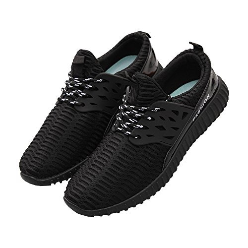 fereshte Men Women Unisex Couple Casual Fashion Sneakers Breathable Athletic Sports Shoes No.773 Black VGp0iWR