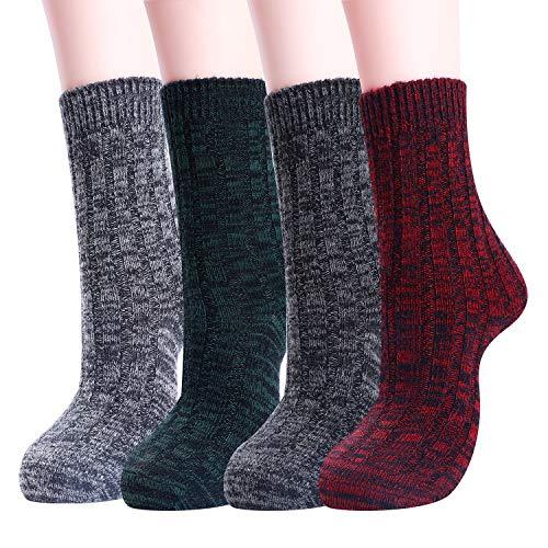 Womens Warm Winter Wool Socks Cozy Soft Vintage Boot Socks (Stripe-4 Pairs)