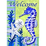 """ Seahorse – Welcome "" – Double Sided Standard Size Decorative Flag 28 X 40 Inches For Sale"