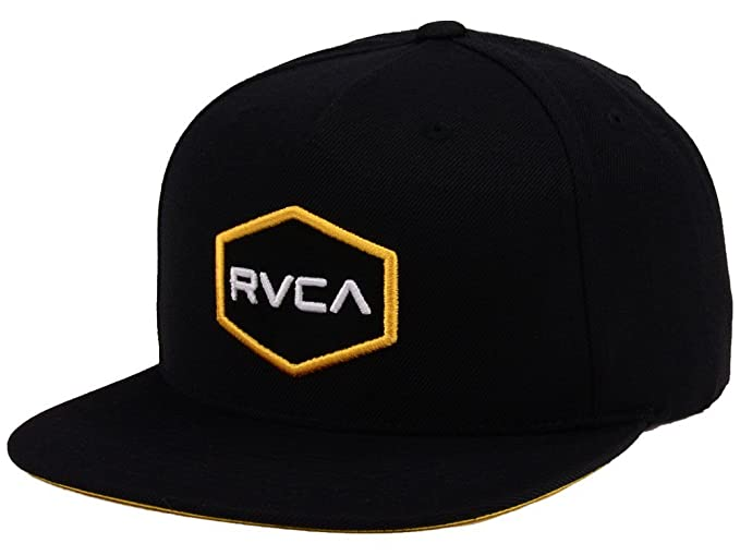 Amazon.com  RVCA Commonwealth Black Yellow Snapback Men s Hat Cap ... fce5722628e4