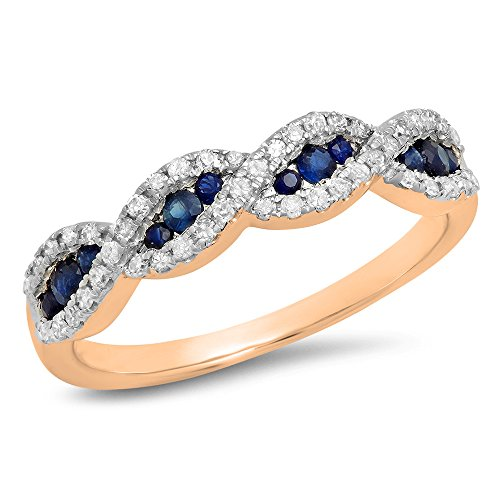 (Dazzlingrock Collection 10K Blue Sapphire & White Diamond Bridal Swirl Anniversary Wedding Band, Rose Gold, Size 8.5)