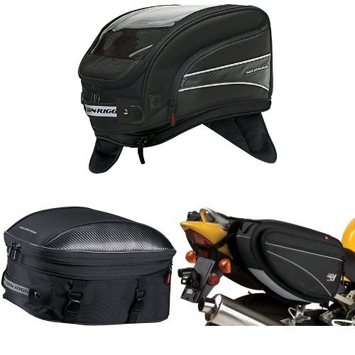 Nelson-Rigg CL-2016-MG Black X-Large Magnetic Mount Journey Tank Bag,  CL-1060-ST Black Sport Touring Tail/Seat Pack,  and  CL-950 Black Deluxe Sport Touring Saddle Bag Bundle by Nelson-Rigg (Image #1)
