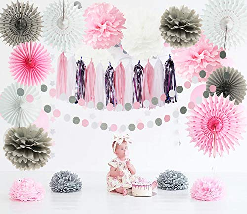 Pink Grey Birthday Party Decorations Baby Girl Baby Shower/ Elephant Party Decorations Tissue Paper Pom Pom Pink Grey Fans Winter Frozen Party Pink Grey Elephant Baby Shower -