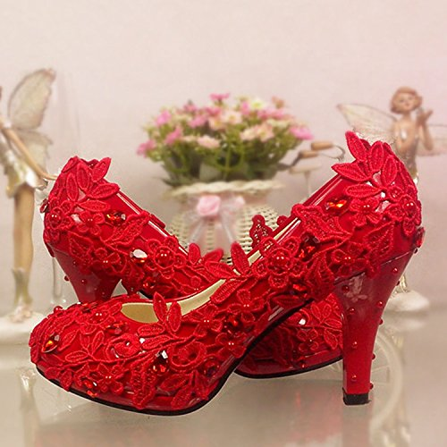 JINGXINSTORE Nupcial con flores zapatos Rojo zapatos Heeled Pearl encaje High solo wedding de shoes plataforma Butterfly zapatos Flor rojas O6wqrvO